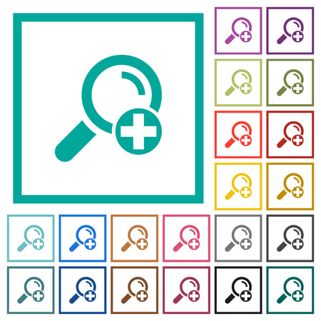 Add new search term flat color icons with quadrant frames on white background