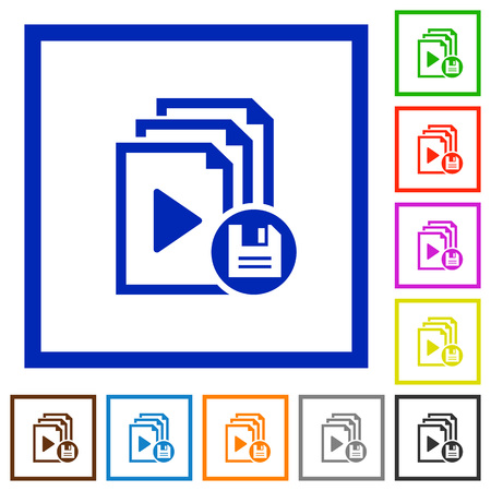 Save playlist flat color icons in square frames on white background