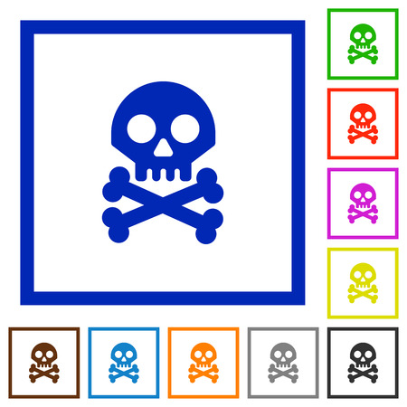 Skull with bones flat color icons in square frames on white background Illustration