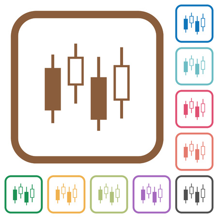 Candlestick Chart Simple Icons In Color Rounded Square Frames