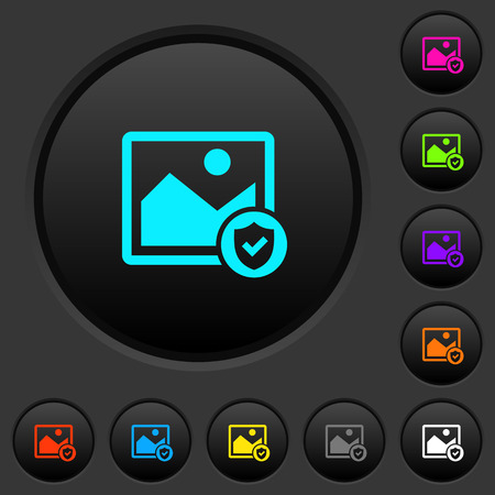 Protected image dark push buttons with vivid color icons on dark grey background