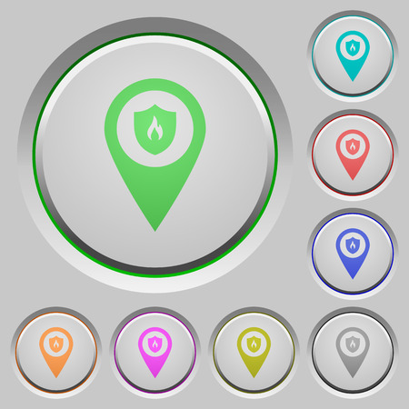 Fire station GPS map location color icons on sunk push buttons Stock Illustratie