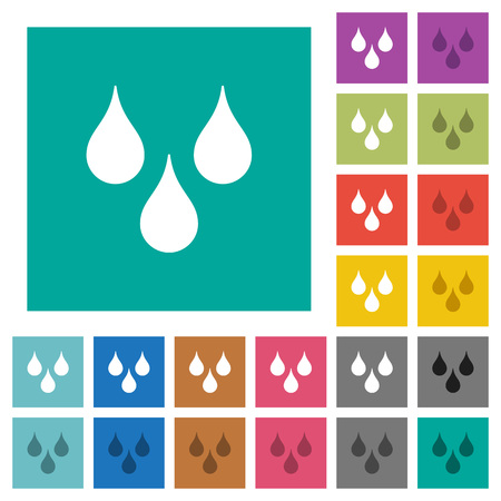 Water drops multi colored flat icons on plain square backgrounds. Included white and darker icon variations for hover or active effects. Illustration