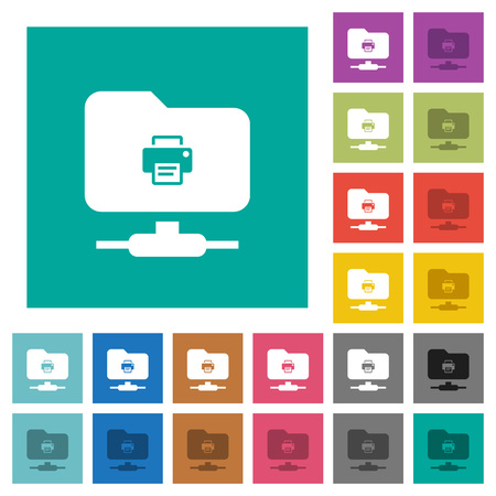 FTP print multi colored flat icons on plain square backgrounds.