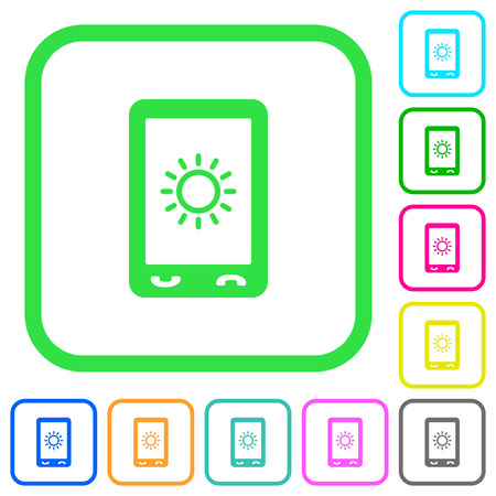 Mobile display brightness vivid colored flat icons in curved borders on white background