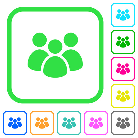 Team vivid colored flat icons in curved borders on white background Illustration