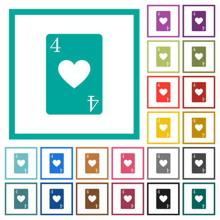 Four of hearts card flat color icons with quadrant frames on white background