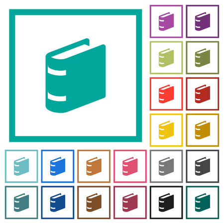 Single book flat color icons with quadrant frames on white background