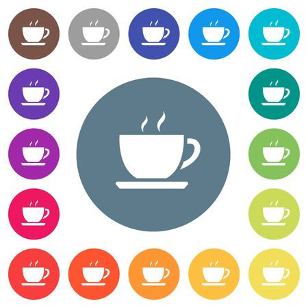 Cup of coffee flat white icons on round color backgrounds, color variations are included. Illustration