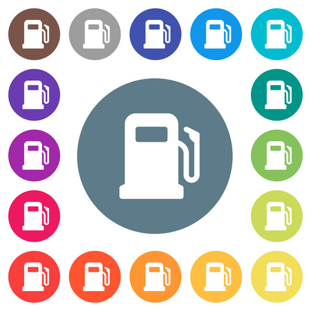 Gas station flat white icons on round color backgrounds, color variations are included.