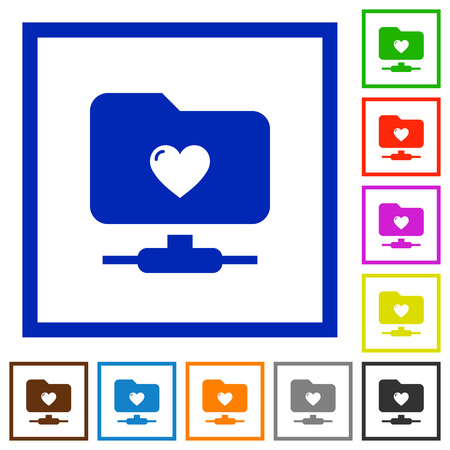 Favorite FTP flat color icons in square frames on white background Vectores