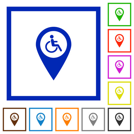 Disability accessibility GPS map location flat color icons in square frames on white background