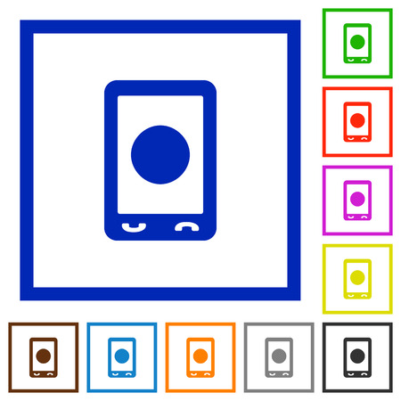 Mobile media record flat color icons in square frames on white background