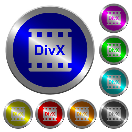 DivX movie format icons on round luminous coin-like color steel buttons 일러스트