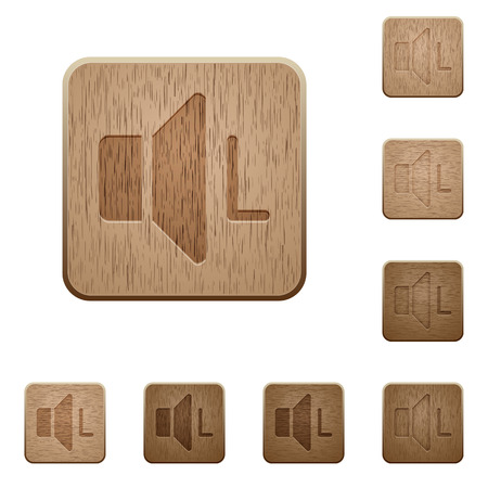 Left audio channel on rounded square carved wooden button styles Ilustração