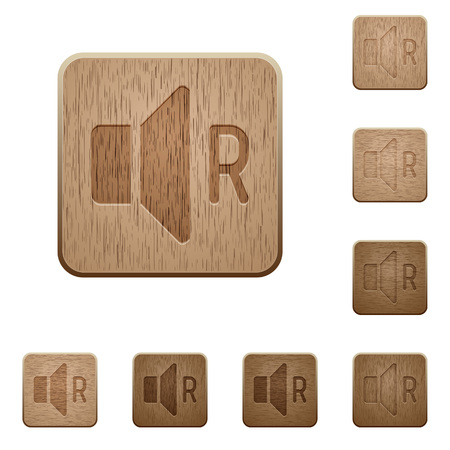 Right audio channel on rounded square carved wooden button styles Illustration
