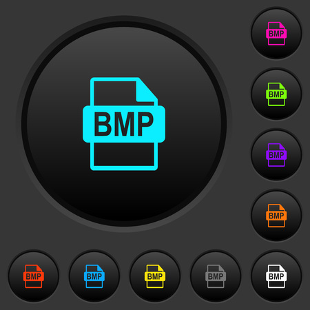 BMP file format dark push buttons with vivid color icons on dark grey background
