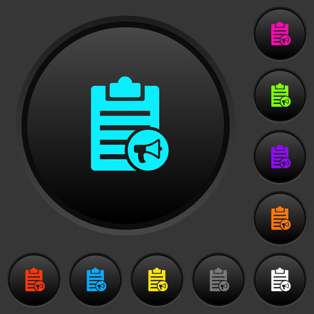 Note reading aloud dark push buttons with vivid color icons on dark grey background
