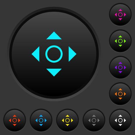 Scrolling tool dark push buttons with vivid color icons on dark grey background Ilustração