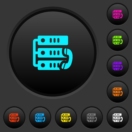 VoIP call dark push buttons with vivid color icons on dark grey background