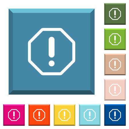 Octagon shaped error sign white icons on edged square buttons in various trendy colors
