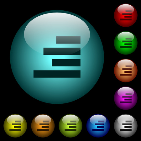 Text align right icons in color illuminated spherical glass buttons on black background. Can be used to black or dark templates