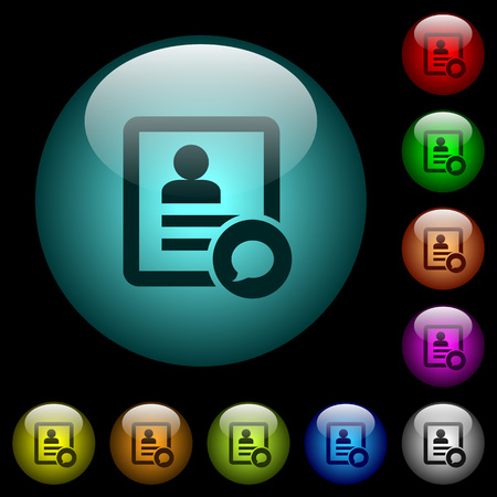 Send message to contact person icons in color illuminated spherical glass buttons on black background. Can be used to black or dark templates