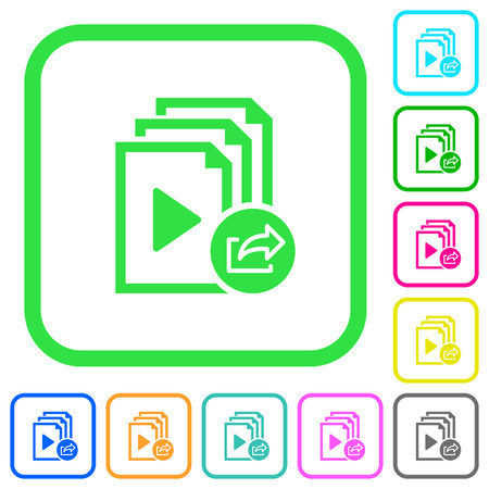 Export playlist vivid colored flat icons in curved borders on white background Illustration