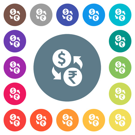 Dollar Rupee money exchange flat white icons on round color backgrounds. 17 background color variations are included. Illustration