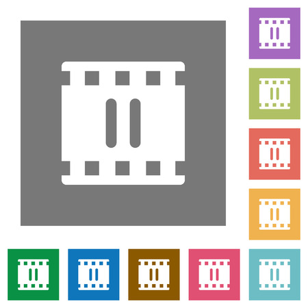 Pause movie flat icons on simple color square backgrounds Illustration