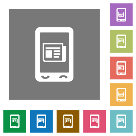 Mobile news flat icons on simple color square backgrounds