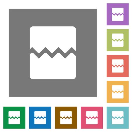Page break flat icons on simple color square backgrounds