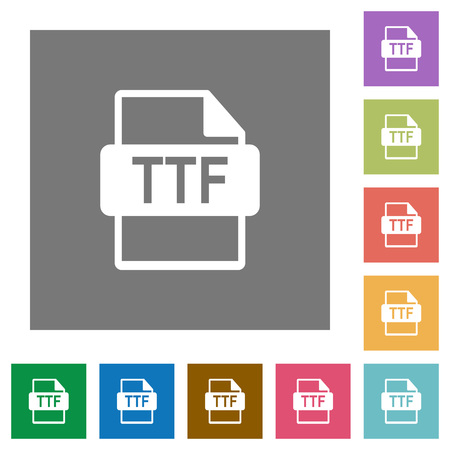 TTF file format flat icons on simple color square backgrounds