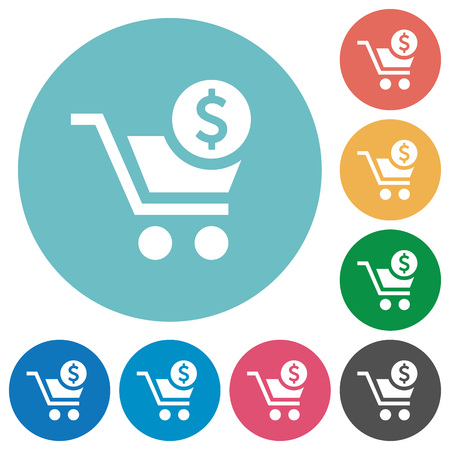 Checkout with Dollar cart flat white icons on round color backgrounds
