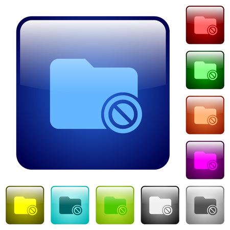 Disabled directory icons in rounded square color glossy button set