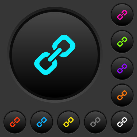 Link dark push buttons with vivid color icons on dark grey background