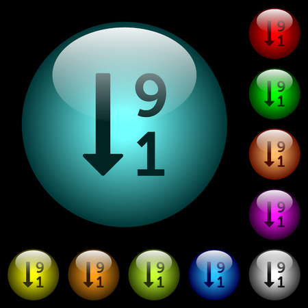 Descending numbered list icons in color illuminated spherical glass buttons on black background.