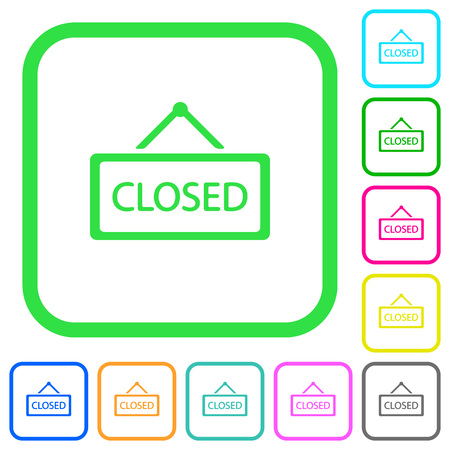 Closed sign vivid colored flat icons in curved borders on white background 向量圖像