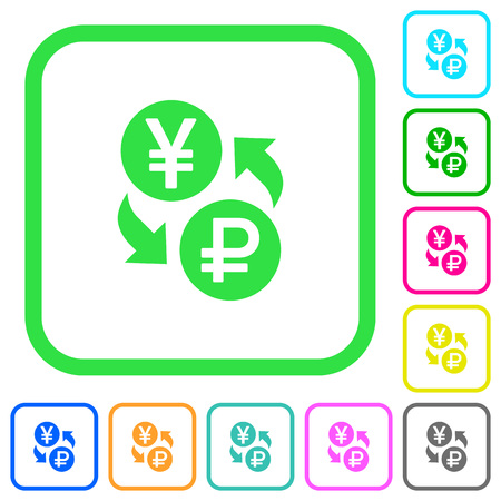 Yen Ruble money exchange vivid colored flat icons in curved borders on white background.