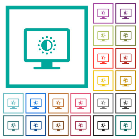 Adjust screen saturation flat color icons with quadrant frames on white background