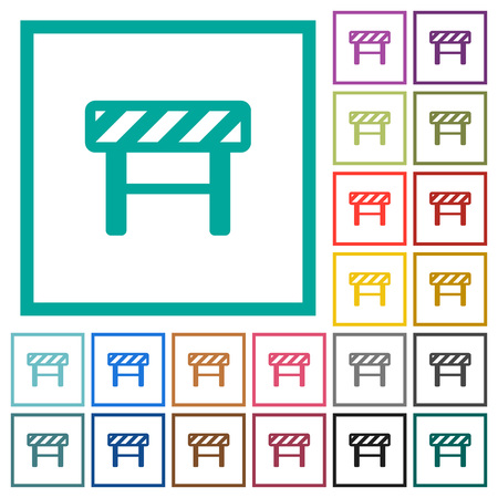 Construction barrier flat color icons with quadrant frames on white background.