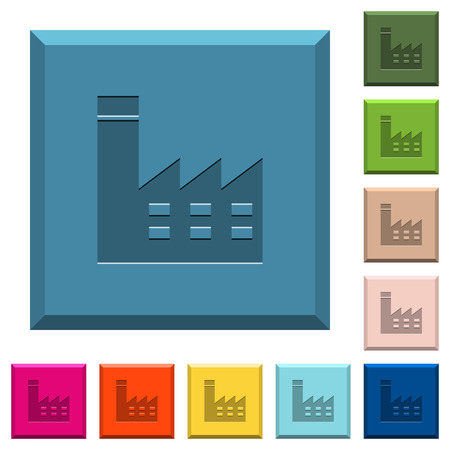 Fabrikgebäude gravierte Ikonen auf umrandeten quadratischen Knöpfen in verschiedenen modischen Farben Standard-Bild - 97628171
