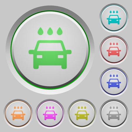 Car wash color icons on sunk push buttons illustration.