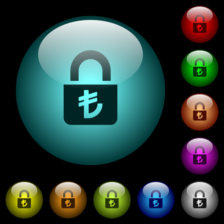 Locked lira icons in color illuminated spherical glass buttons on black background. Can be used to black or dark templates  イラスト・ベクター素材