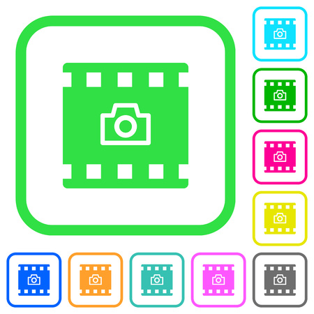 Grab image from movie vivid colored flat icons in curved borders on white background