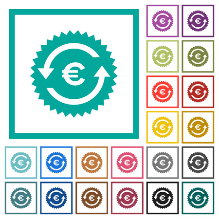 Euro pay back guarantee sticker flat color icons with quadrant frames on white background