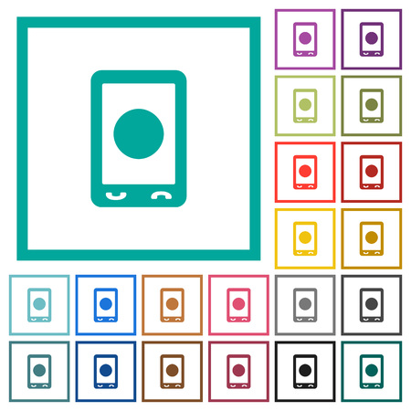 Mobile media record flat color icons with quadrant frames on white background.