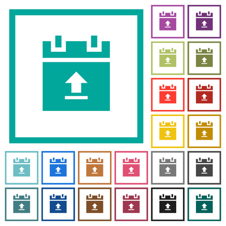 Upload Document Flat Color Icons With Quadrant Frames On White ...