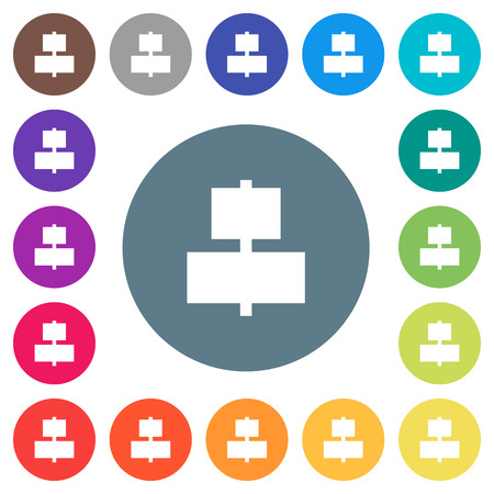 Align to center flat white icons on round color backgrounds. 17 background color variations are included.