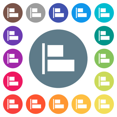 Align to left flat white icons on round color backgrounds. 17 background color variations are included.